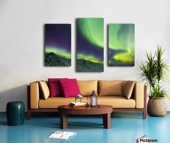 Aurora borealis swirls over mountains within Denali National Park on a very cold winter night; Alaska, United States of America Canvas print