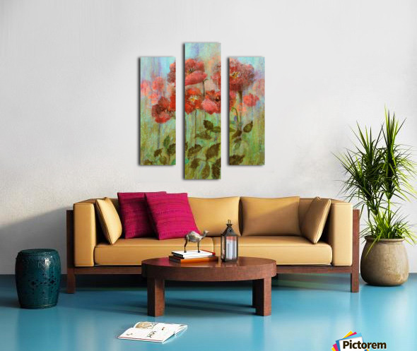 Poppies In Pastel Red Canvas print