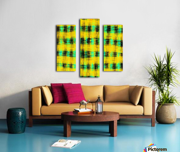 plaid pattern abstract texture in yellow green black Canvas print