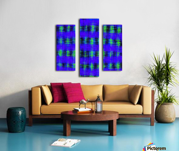 plaid pattern abstract texture in blue green black Canvas print
