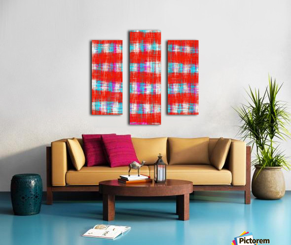 plaid pattern abstract texture in in red blue pink Canvas print