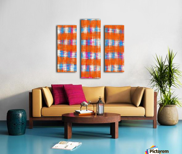 plaid pattern abstract texture in orange blue pink Canvas print
