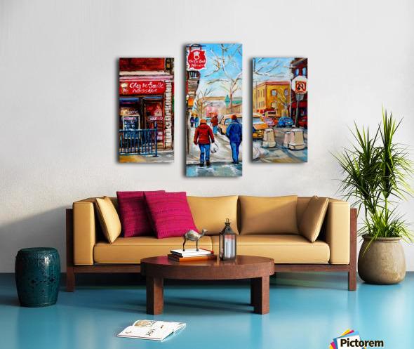PATISSERIE CHEZ DEGAULLE MONTREAL WINTER STREET SCENE  Canvas print