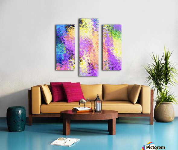 flower pattern abstract background in purple yellow blue green Canvas print