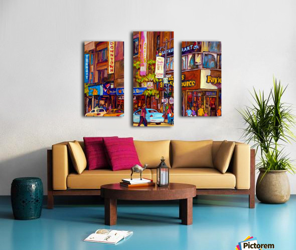 DOWNTOWN MONTREAL ST. CATHERINE WITH PAYLESS STORE Canvas print