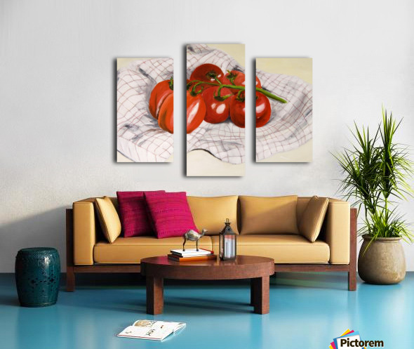 Tomatoes on a Striped Cloth  Canvas print