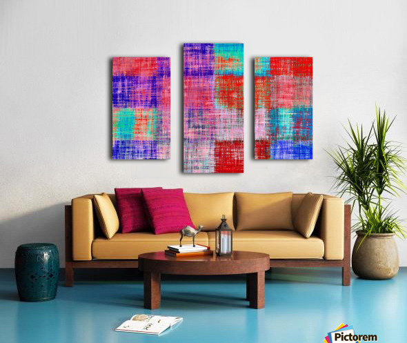 square plaid pattern texture abstract in red blue pink purple Canvas print