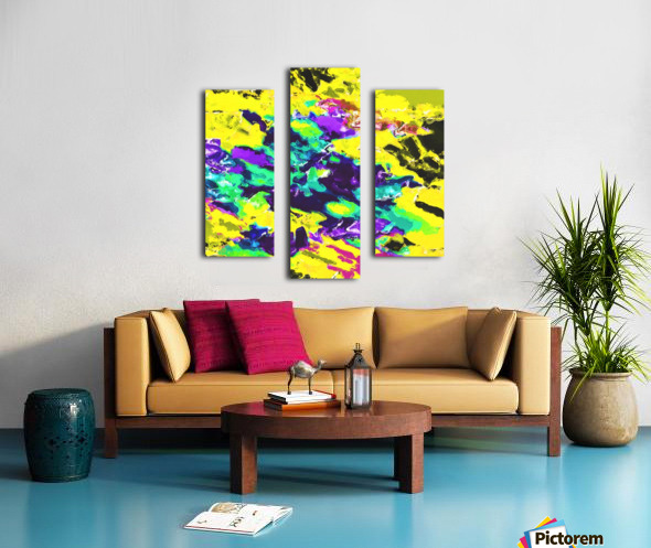 psychedelic splash painting abstract texture in yellow blue green purple Canvas print