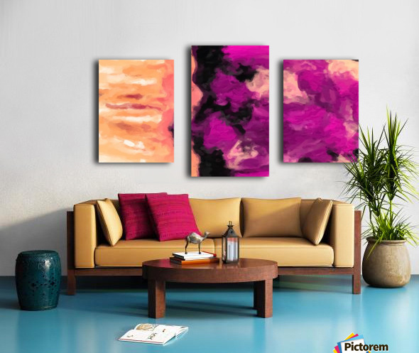 psychedelic splash painting abstract texture in pink purple black Canvas print