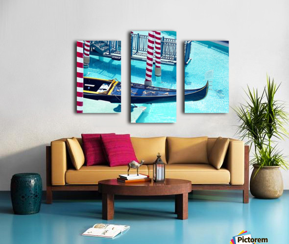 Classic Gondola boat and blue water Canvas print