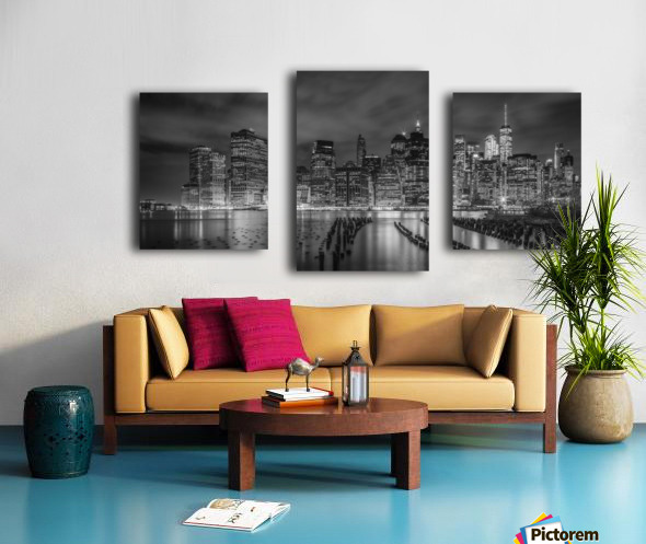 NEW YORK CITY Monochrome Night Impressions | Panoramic Canvas print