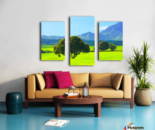 green tree in the green field with green mountain and blue sky background Canvas print