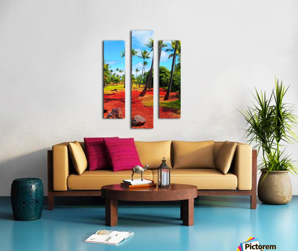 palm trees with green tree and blue cloudy sky in summer Canvas print