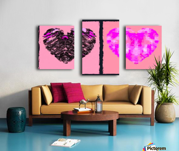 pink heart and black heart shape with pink background - TimmyLA Canvas