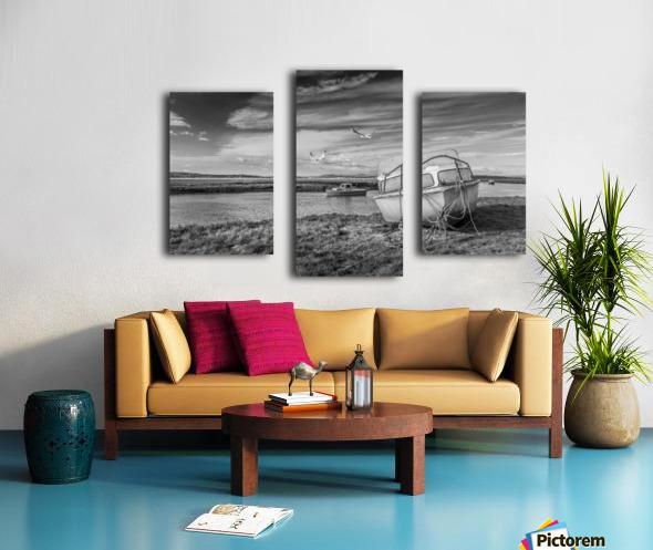 Loughor Estuary boats Wales Canvas print