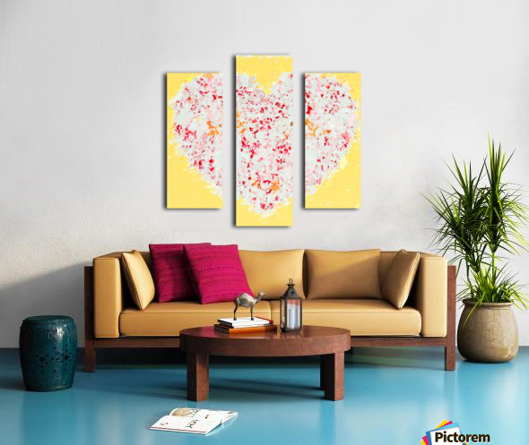 pink and red heart shape with yellow background Canvas print