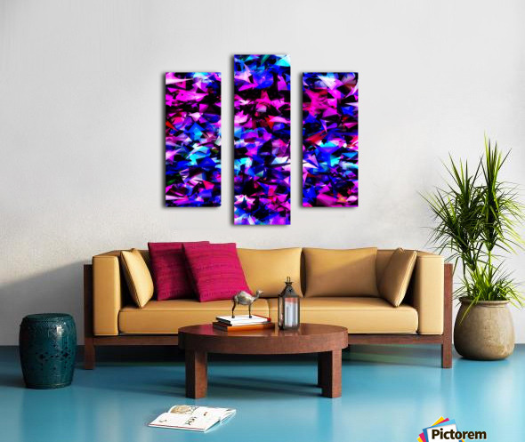 psychedelic geometric triangle polygon abstract pattern in pink blue black Canvas print