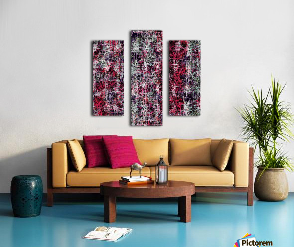 psychedelic abstract art pattern texture background in red pink black Canvas print