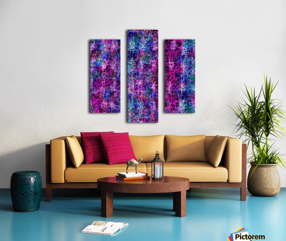 psychedelic abstract art pattern texture background in pink blue black Canvas print