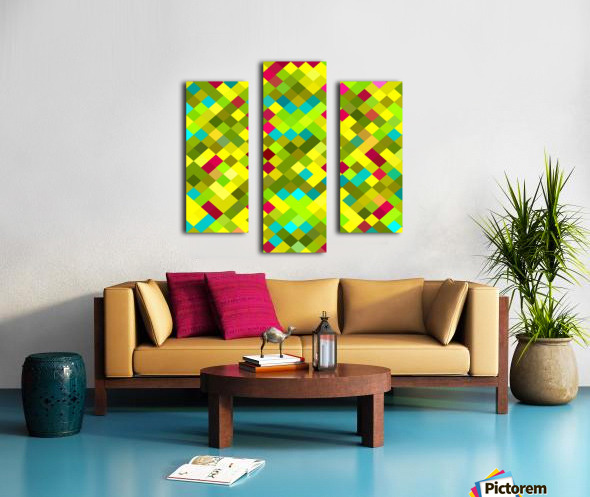 geometric square pixel pattern abstract in yellow red green blue Canvas print