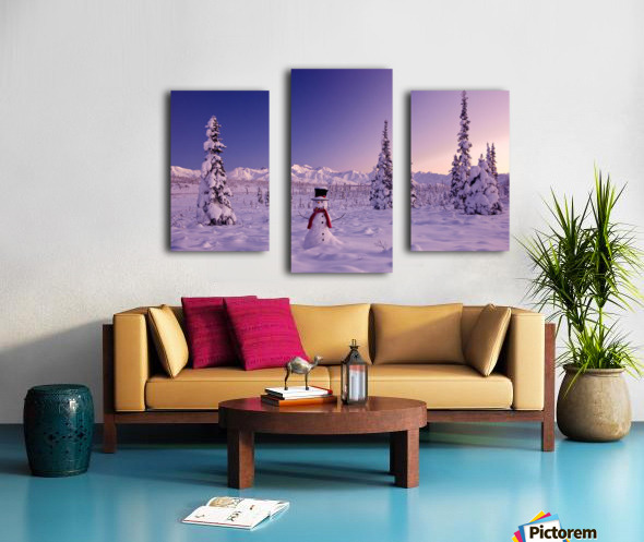 Snowman At Sunset, Snow Covered Spruce Trees, Winter, Chugach Mountains In The Background, Glenn Highway, Alaska Usa. Canvas print