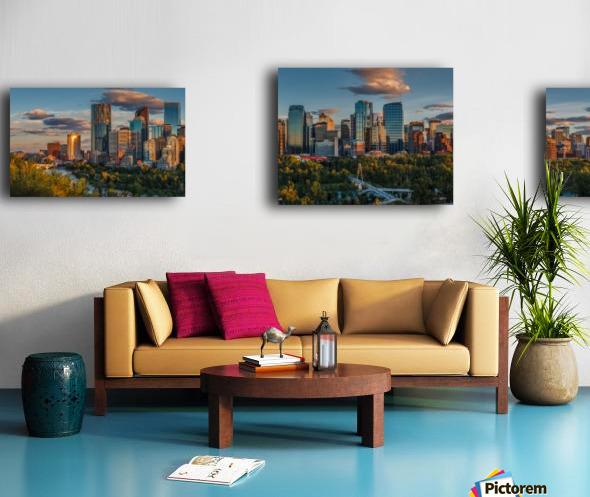 Calgary Downtown Four Bridges Sunset Canvas print