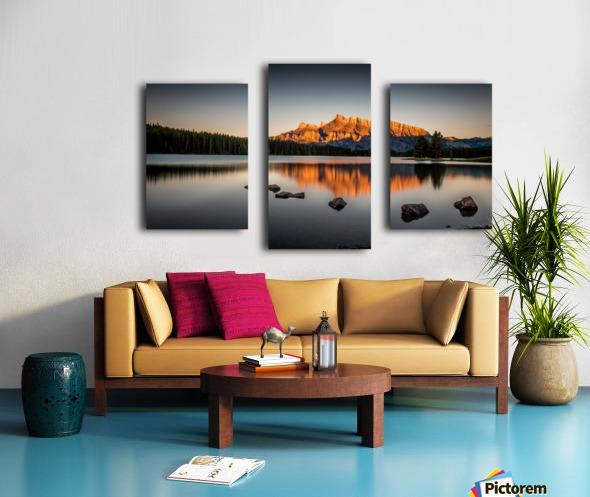 Rundle Mountain at TwoJacks Lake Canvas print