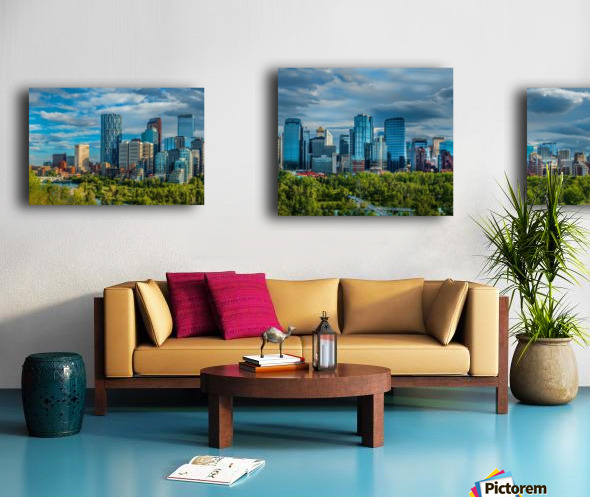 Calgary Downtown Four Bridges Blue Canvas print