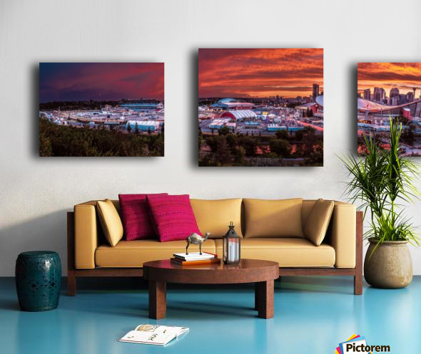 Calgary After the Storm - Fire in the Sky Canvas print