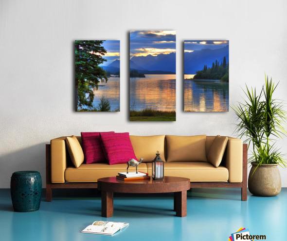 Sunrise On Lake Clark In Lake Clark National Park, Southcentral, Alaska, Hdr Image Canvas print