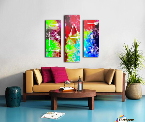 EAT alphabet by fork with colorful painting abstract background Canvas print
