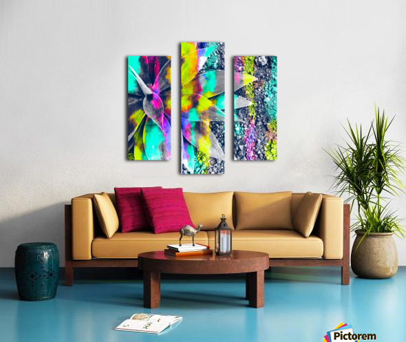 succulent plant with painting abstract background in green pink yellow purple Canvas print