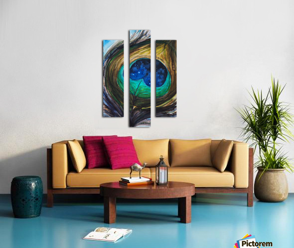Artwork showing the detail of a colourful bird feather Canvas print