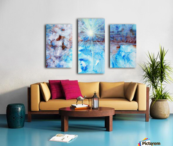 Abstract watercolour painting with a starburst Canvas print