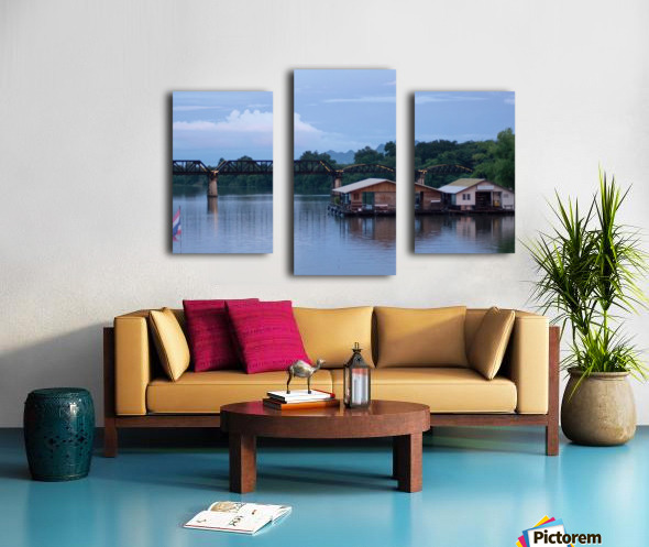 Boat trip on the river Kwai with sunset Canvas print