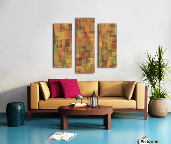 vintage psychedelic geometric square pattern abstract in brown and green Canvas print