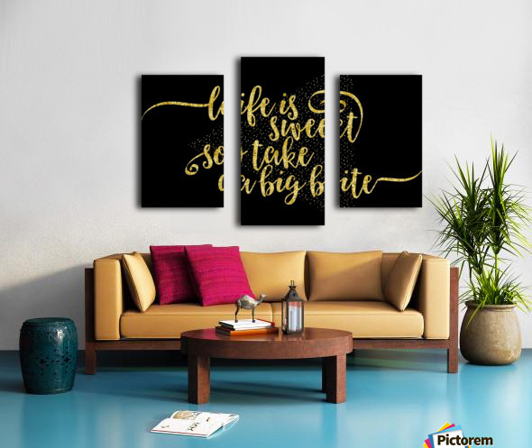 TEXT ART GOLD Life is sweet  Canvas print
