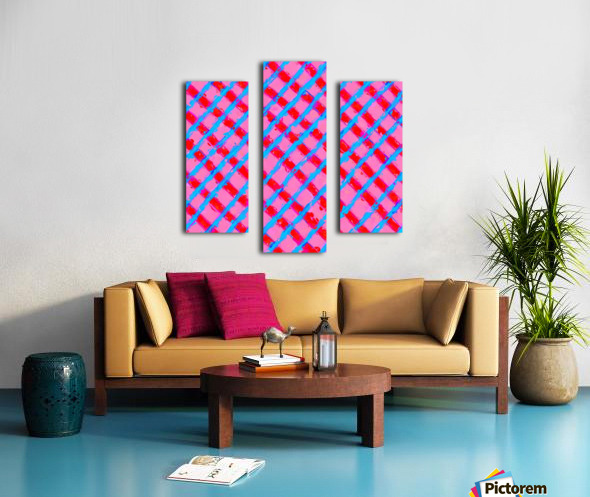 line pattern painting abstract background in pink red blue Canvas print