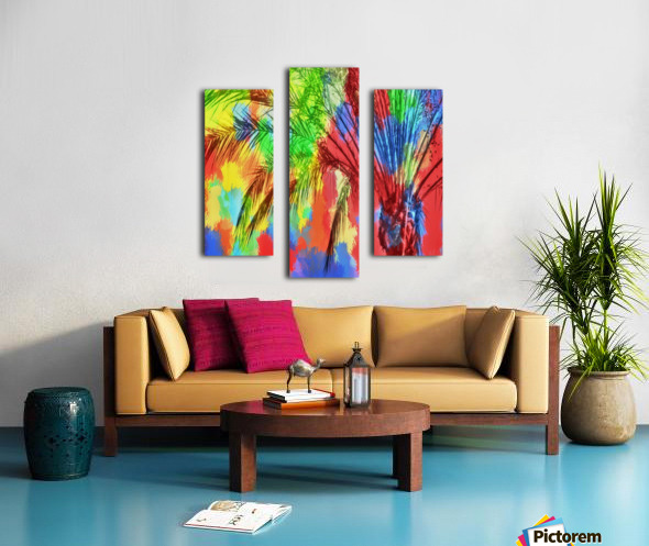 isolate palm tree with painting abstract background in red blue green yellow Canvas print