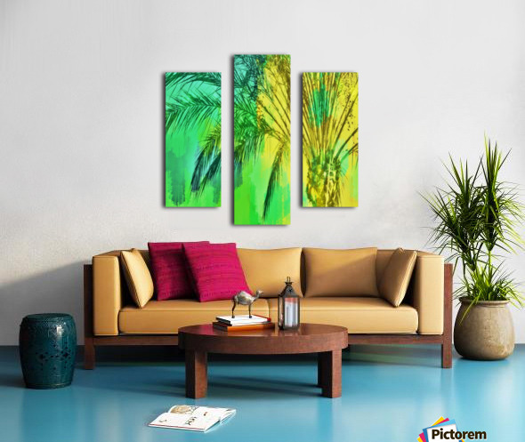 isolate palm tree with painting abstract background in green yellow Canvas print