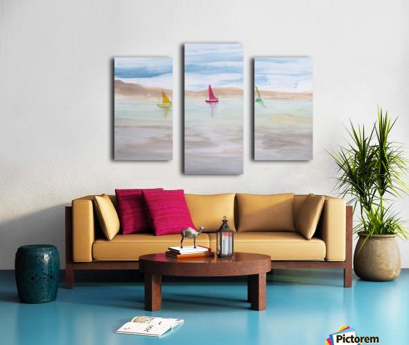 Three sailboats. Canvas print