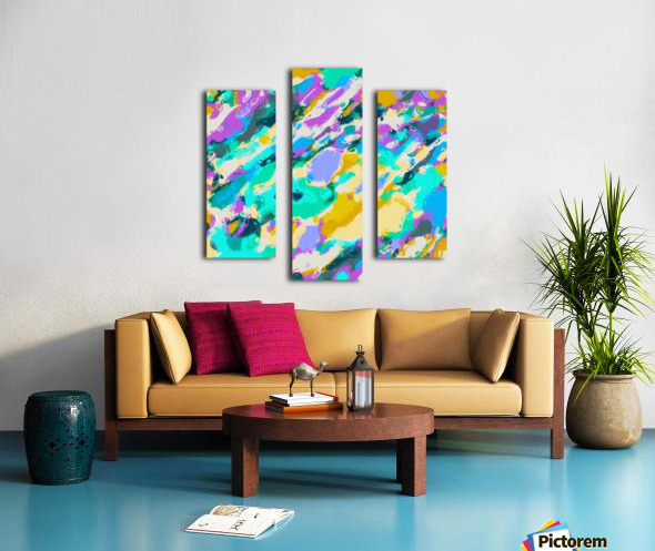 camouflage pattern painting abstract background in green blue purple yellow Canvas print