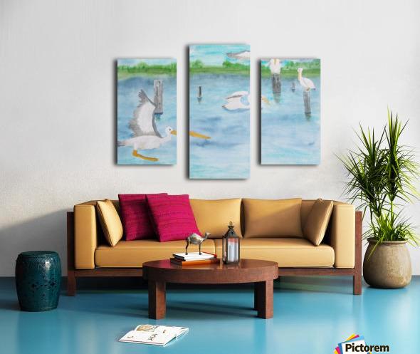 Pelicans in a coastal inlet. Canvas print