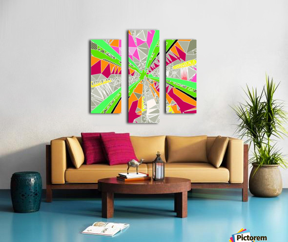 psychedelic geometric pattern drawing abstract background in green orange red pink Canvas print