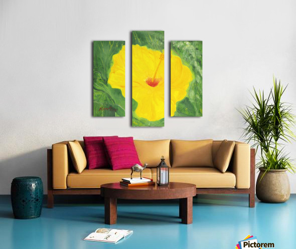 Yellow Hisbiscus Flower. Canvas print