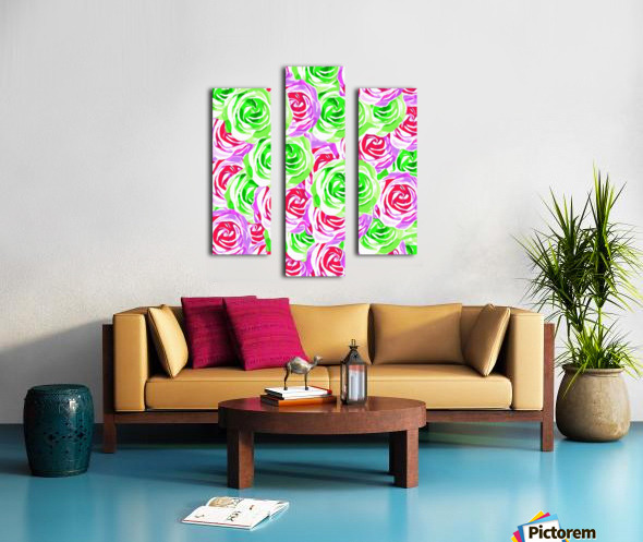 closeup rose pattern texture abstract background in pink red green Canvas print