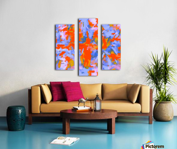splash painting texture abstract background in red blue orange Impression sur toile