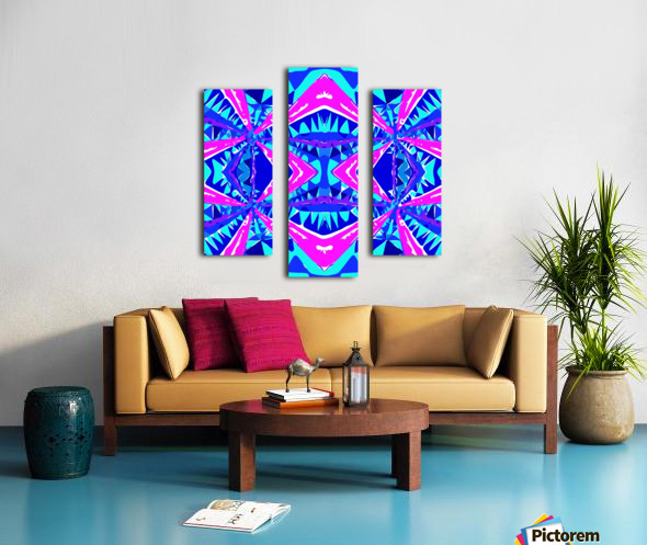 psychedelic geometric abstract pattern background in blue pink purple Canvas print
