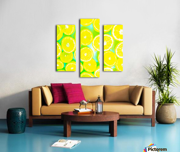 juicy yellow lemon pattern abstract with green background Canvas print