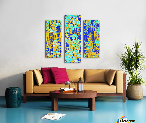 green maple tree leaf with blue and yellow abstract background Canvas print